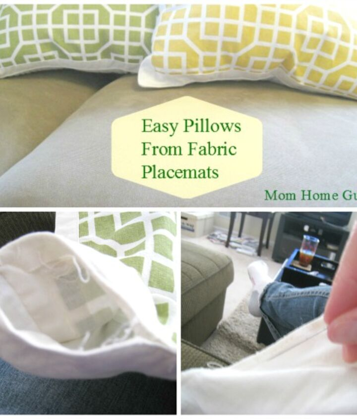 diy pillows for a sofa from cloth placemats, crafts, home decor, painted furniture