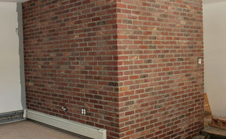 turn a plain wall into a brick wall, concrete masonry, diy, how to, wall decor, You use mortar just like a real brick wall because it IS a real brick wall just thinner I love how this turned out See more at mycrappyhouse com