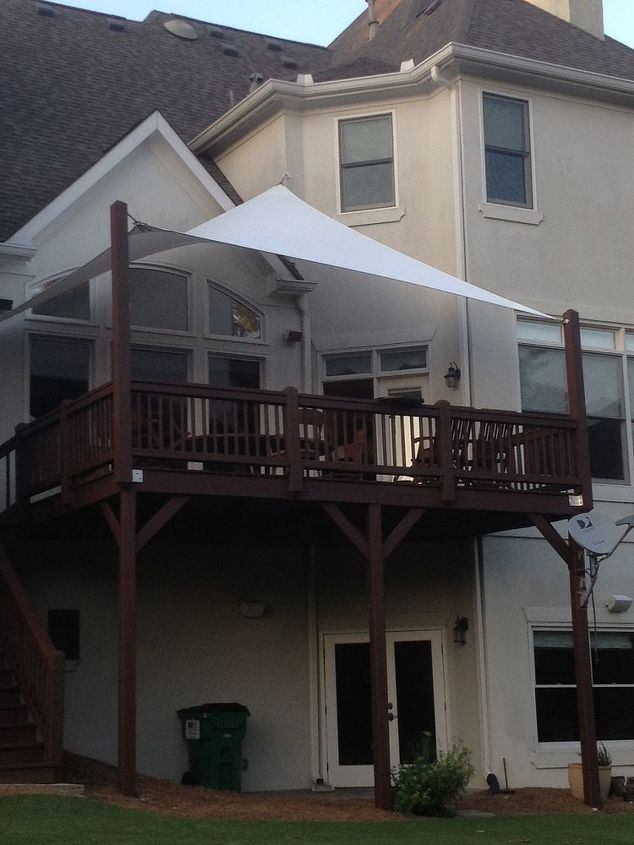 shade sail installation in atlanta area, decks, outdoor living, View from below after the insallation