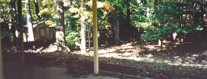 shed makeover, outdoor living, This was our yard when we moved in in 2003 It took us years to fix up the yard and we painted the shed a barn red temporarily