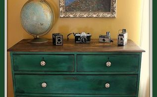 my custom green dresser makeover, painted furniture