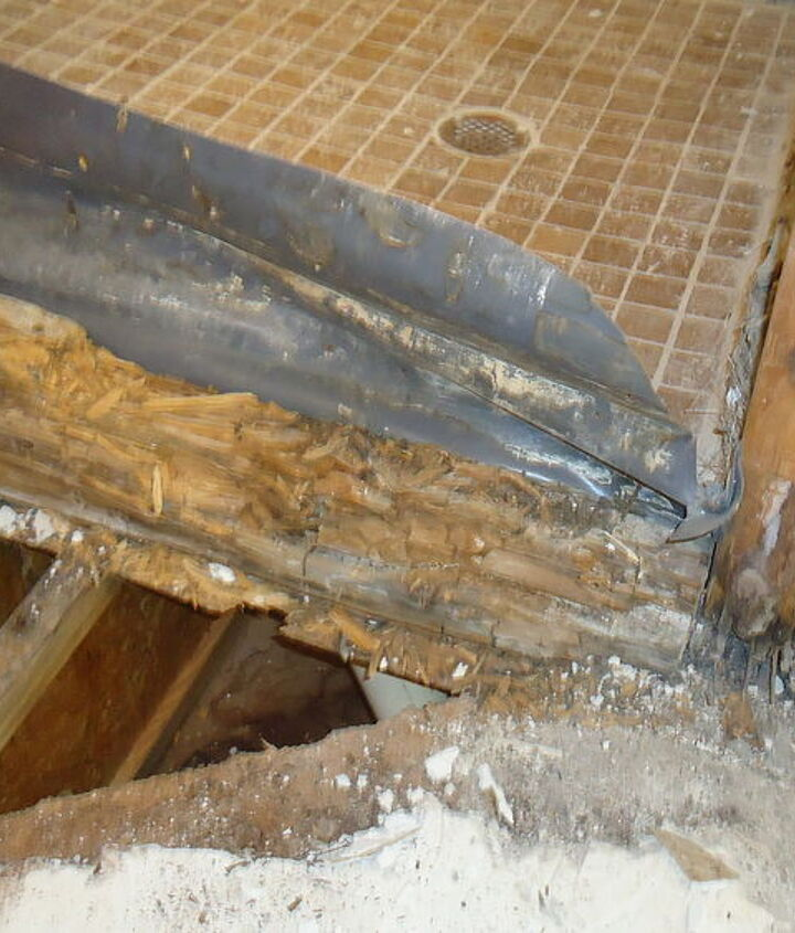 The curb was completely rotted away the floor was rotted through and mold had started to grow