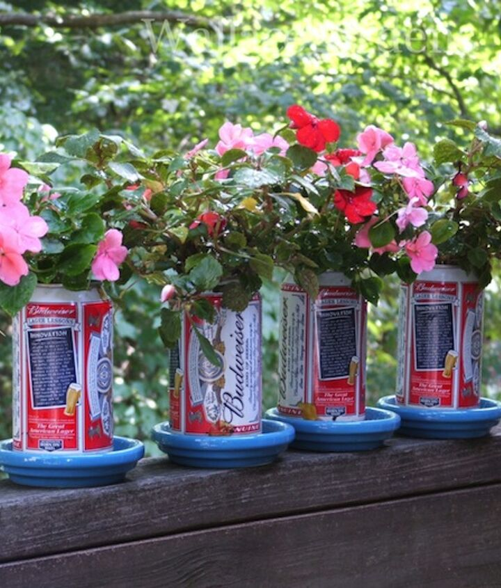 Yes, I put this together a few years ago for a client's 4th of July party using Budweiser beer cans and Impatiens (which, sadly, we should not be using due to downy mildew disease ). So: use red geraniums instead!
