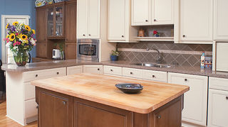 q we all know granite countertops are definitely in but what do y all think of, countertops, home decor, kitchen design, Re purposed for the remodel here The owner s maple top still had many years left to it so we had it sanded down and re oiled for her