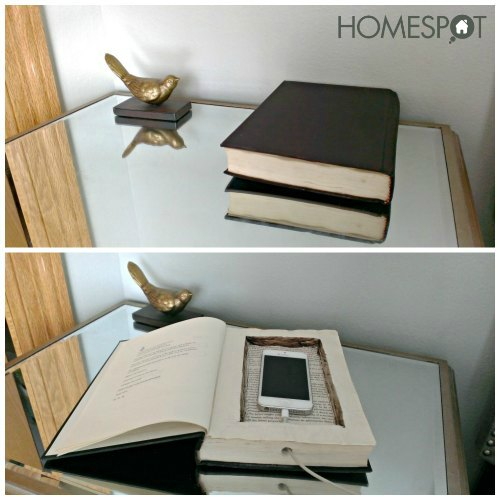 Hollow book phone charging station hometalk - Phone charging furniture the future in your home ...