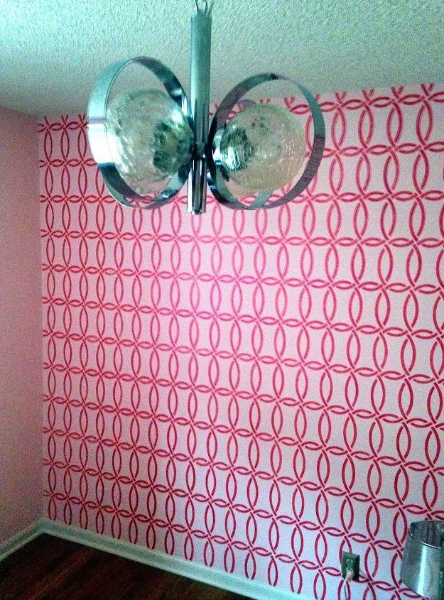 pretty in pink stenciled wall room makeover, bedroom ideas, home decor, paint colors, painted furniture, wall decor