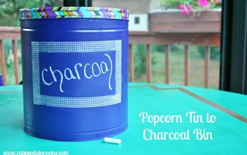 Upcycled Popcorn Tin Into Charcoal Bin