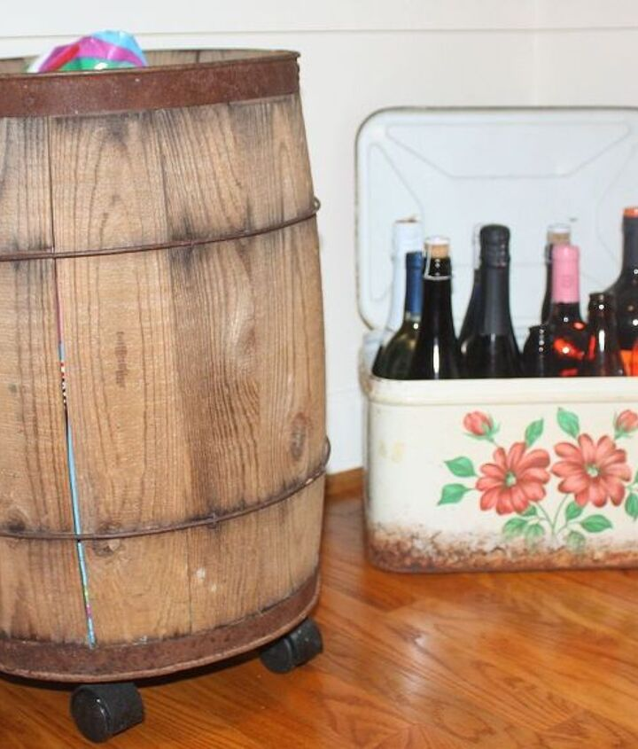 I like to use vintage items for storage in my pantry.  Dog food is stored in a barrel on wheels and wine is in an old bread box.