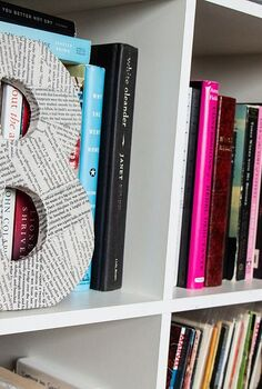 covered wooden letter for book lovers, crafts, Covered wood letters make a neat addition to any bookshelf for the book lover in your life