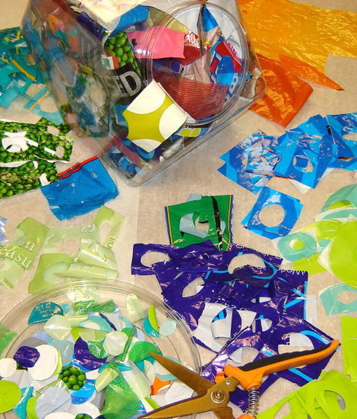 Pieces of plastic bags waiting to be fused. (You can check-out my technique article in ClothPaperScissors July/Aug. 2011 issue)