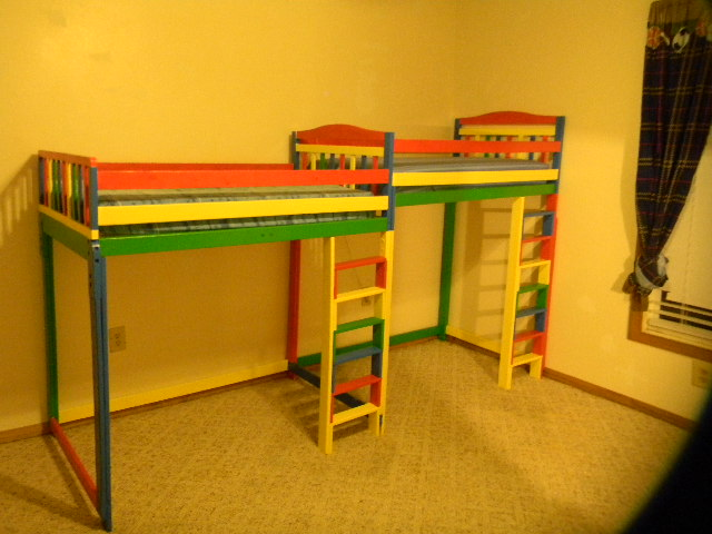toddler beds remade to save space and add to play area, bedroom ideas, diy, painted furniture, I remade regular wooden toddler beds in order to add play space to my boy s room