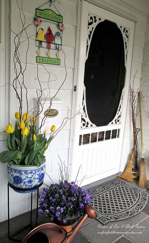tulips & pansies by the front door
