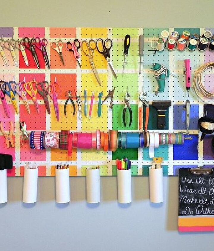 My colorful pegboard was inspired by the work room from last season's Project Runway All-Stars.