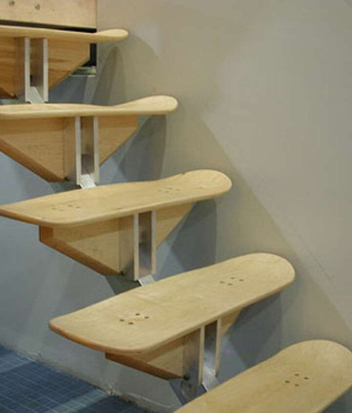 Wouldn't you know it a skateboarding school designed these and they eventually added a handrail - we thought they were cool!