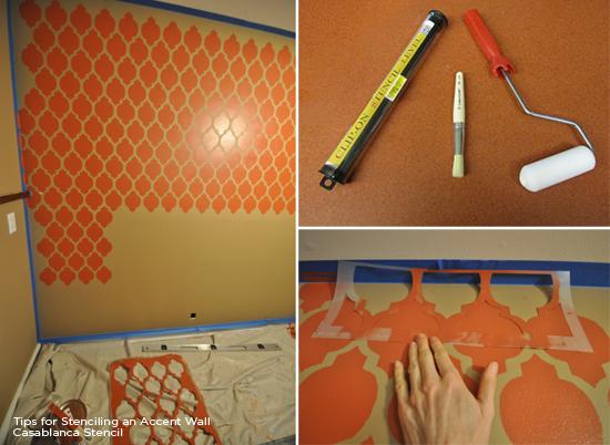 Stenciling an orange accent wall using the Casablanca Allover Stencil.