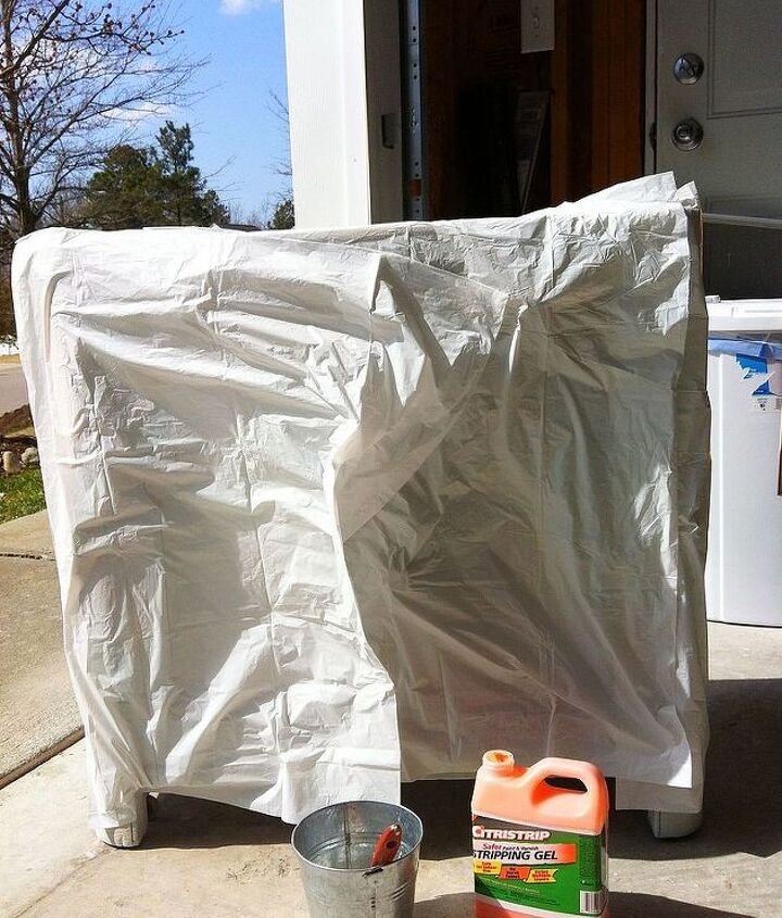 Stick garbage bag to wet Citrustrip and leave for up to 24 hours.