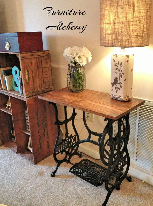 Reclaimed wood sewing machine table hometalk for Reclaimed wood furniture colorado