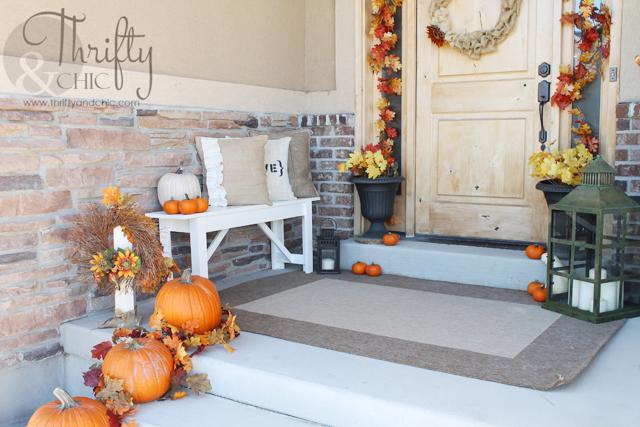 fall porch and diy outdoor bench, porches, seasonal holiday decor