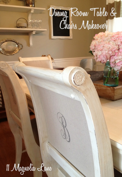 Dining Room Table Chairs Painted White Recovered Monogrammed Chalk Paint Ideas