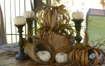 Creating outdoor Fall Tablescape with a dead Palm leaf