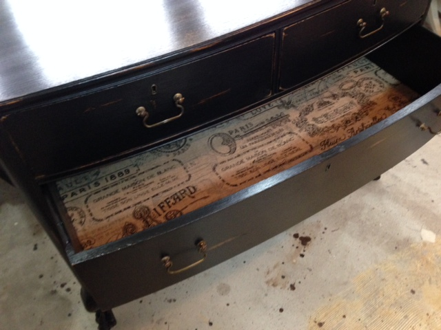 Lining drawers with burlap
