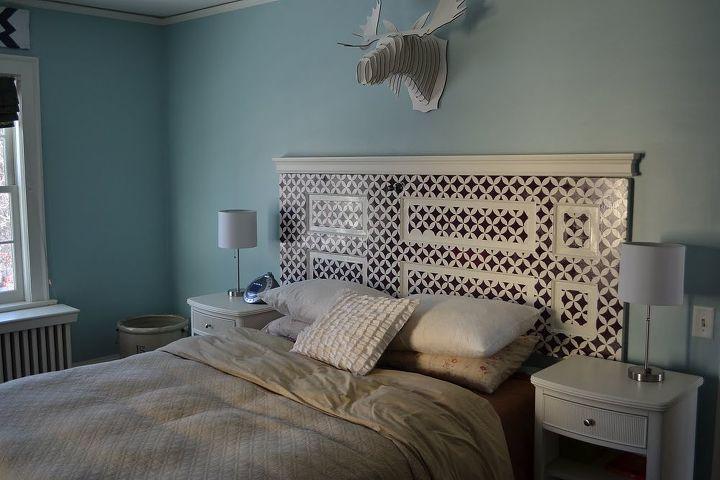 stenciled door headboard, bedroom ideas, doors, home decor, painted furniture
