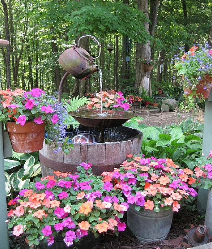 One sweet old kettle setup by Julee S on HomeTalk at: http://www.hometalk.com/600572/tea-pot-fountain-instructions