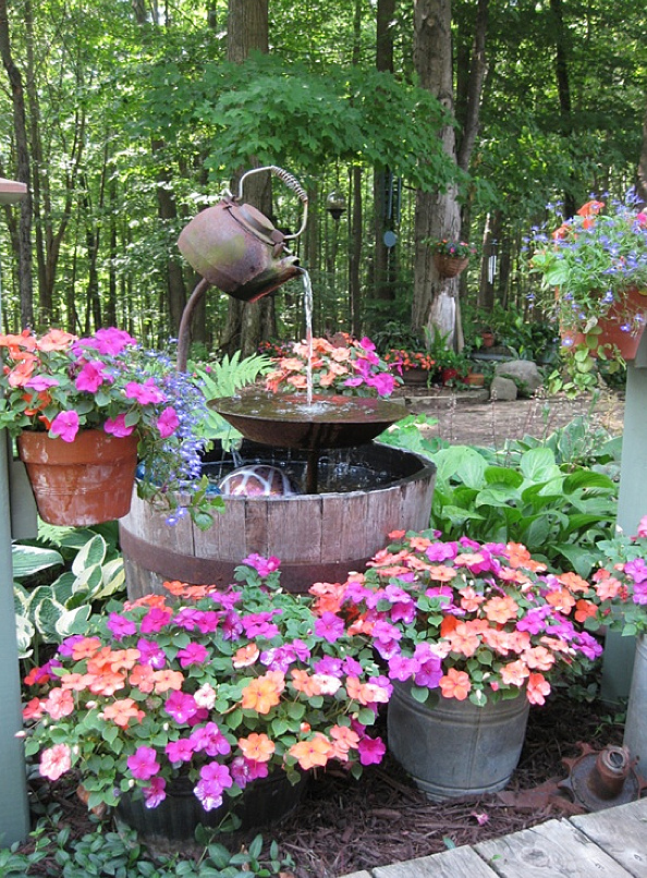 q i want to make a water fountain, outdoor living, ponds water features, One sweet old kettle setup by Julee S on HomeTalk at