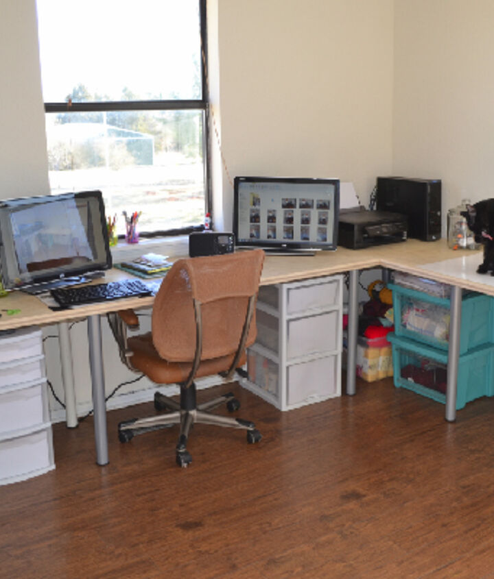 DIY and custom fit desk with slimmer profile for more working space in the center of the room.