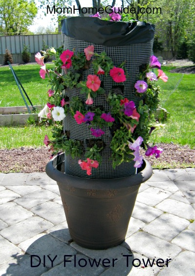how to make a diy flower tower for your backyard or porch, container gardening, diy, flowers, gardening, how to, Petunia flower tower it will look even better when the flowers fill in I used an inexpensive plastic pot for this project