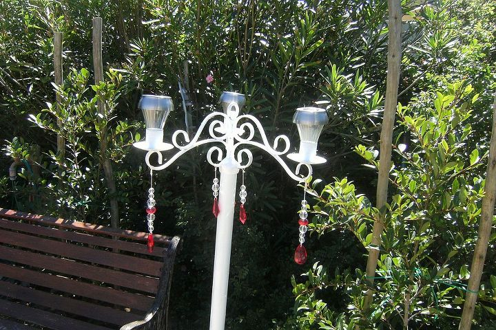 My 'standing solar chandelier' - the plastic beads add a nice sparkle to it during the daytime.