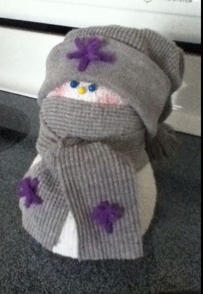 sock snowmen, crafts, seasonal holiday decor, This hat is made with the sleeve of a thermal shirt