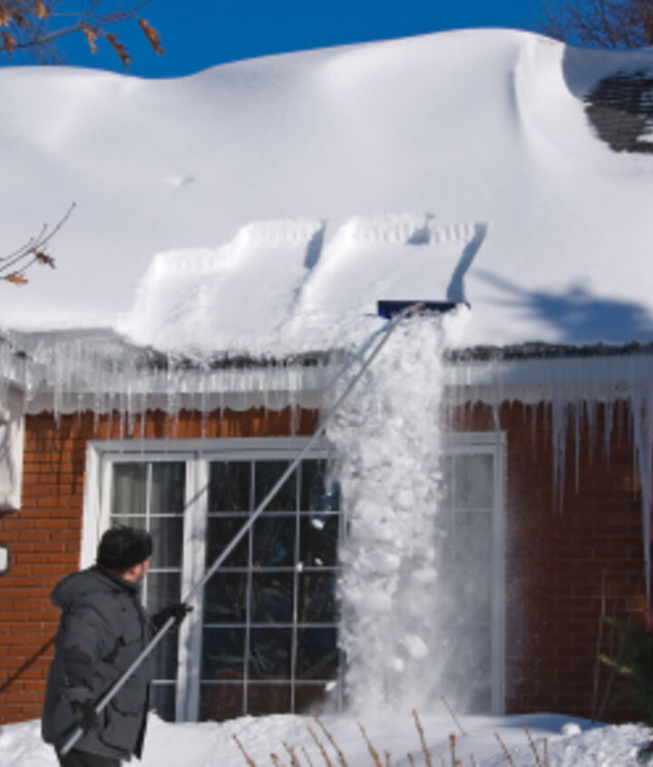 Roof rakes can be used to safely remove snow from a roof before it gets wet and heavy.