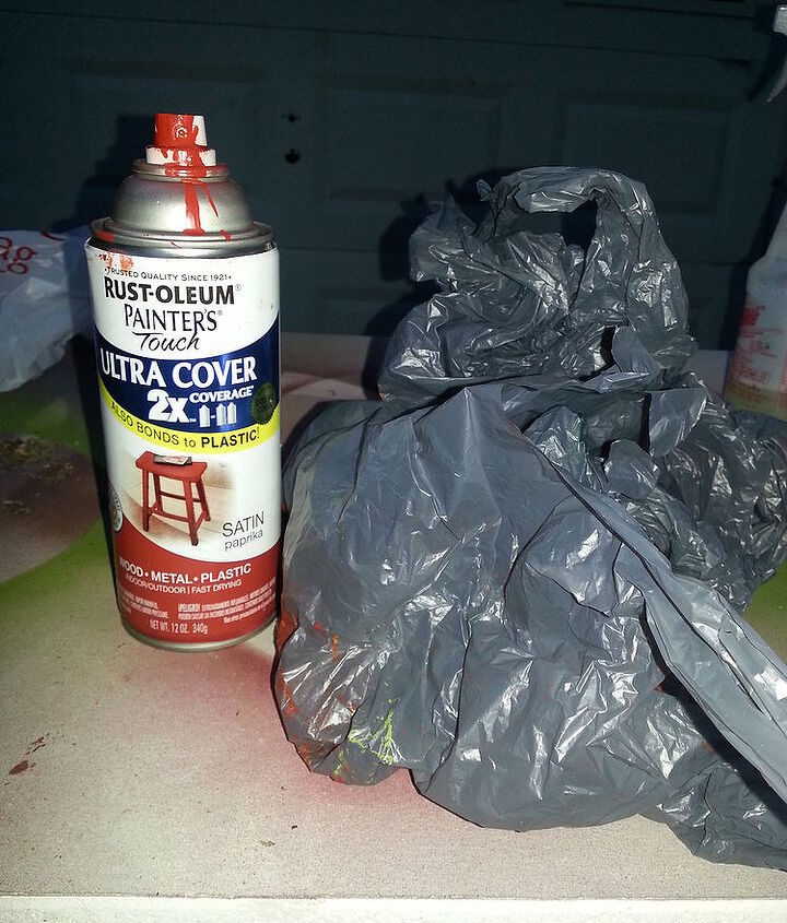what can you do with a plastic bag and spray paint, crafts, painting