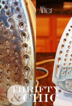 how to clean an iron with vinegar, cleaning tips, Before and after