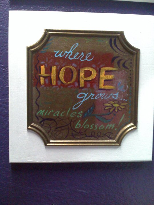 Where hope grows, miracles DO blossom! I painted on a cabinet door.