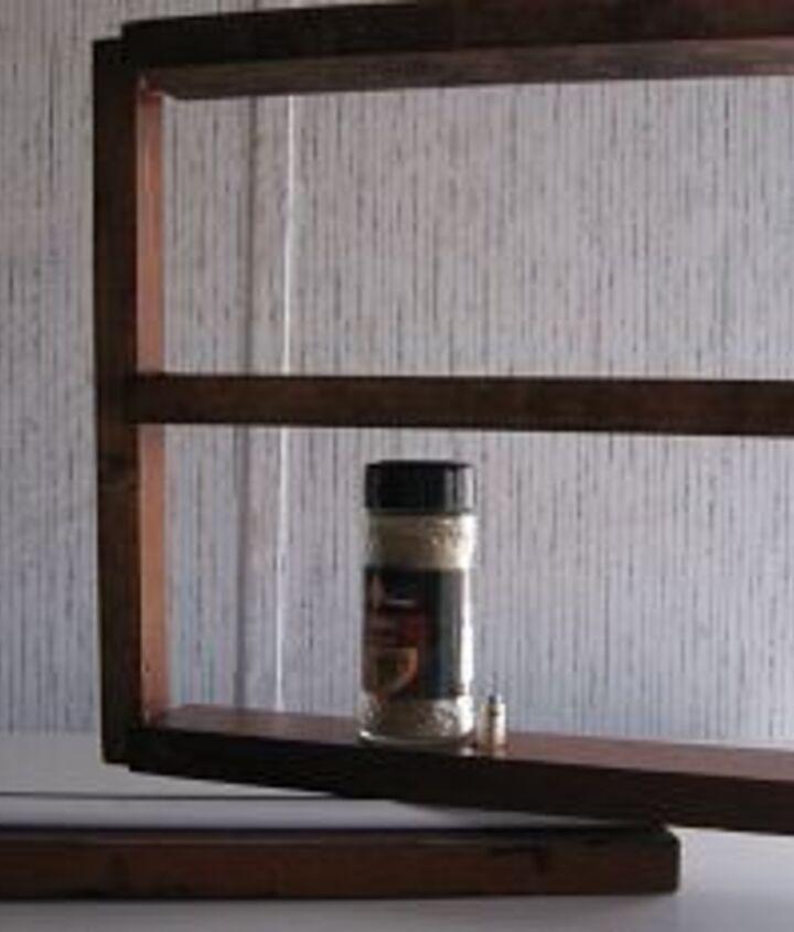 spice rack made of scrap parts curtain rod bi fold closet door hardware wood slides, storage ideas, woodworking projects