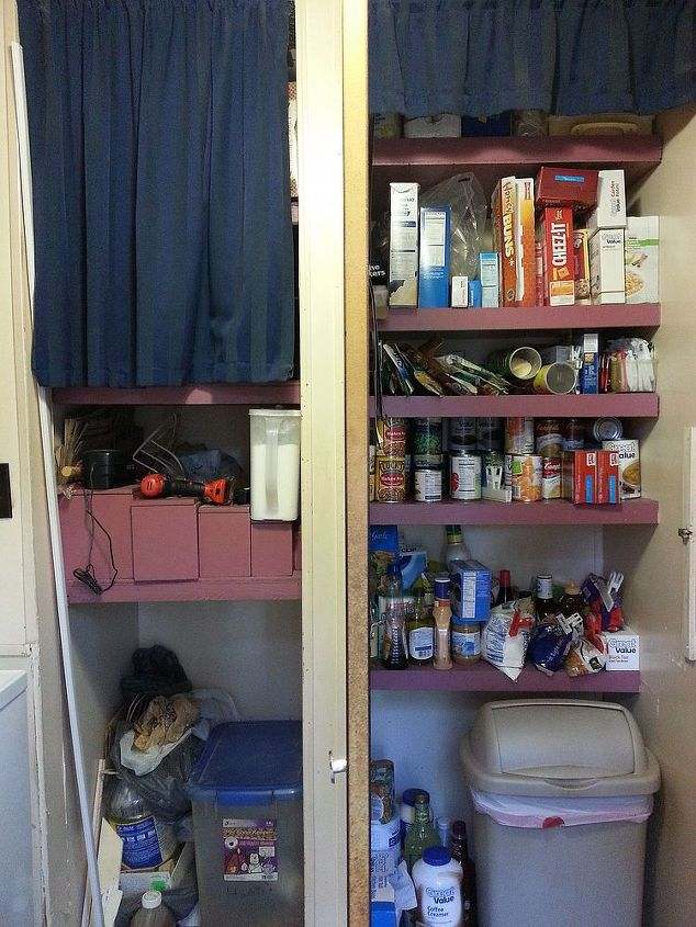 Before.  Divided pantry, quite a mess.  This is with the door open.