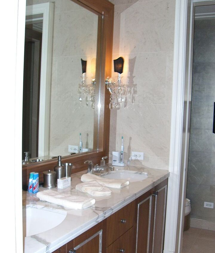 master bath, the existing cabinetry was made a bit more traditional by adding some picture frame filets