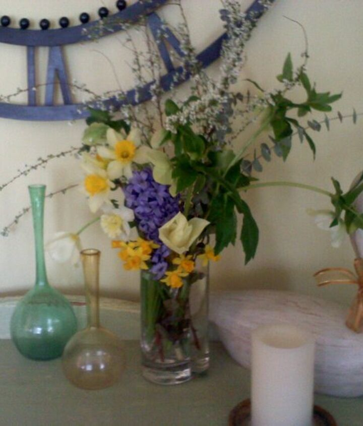 spring flower arrangement from the yard, February.