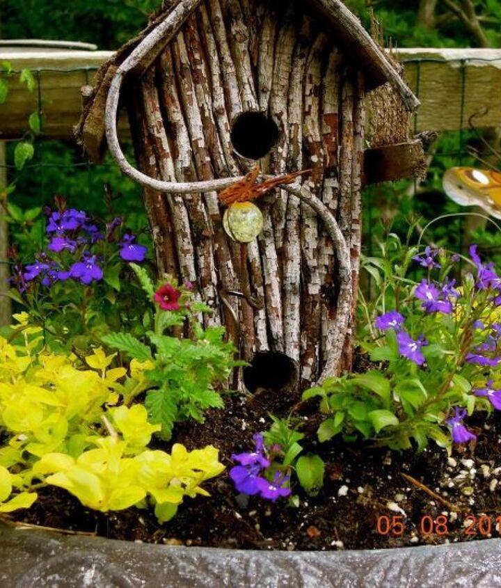 Birdbath planter in my butterfly garden