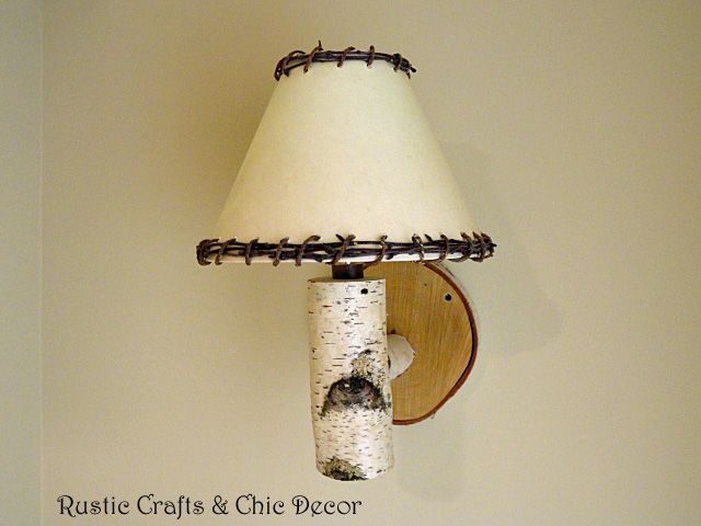 diy rustic birch sconces and lamps, lighting, repurposing upcycling, We have these along side beds sofas and at the end of hallways
