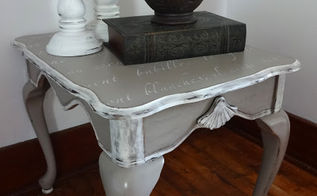french stenciled end table, painted furniture, voila Love her new look