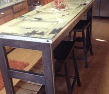 kitchen island made from an old door, diy, repurposing upcycling, woodworking projects, Kitchen Island with 1 4 Glass on top for easy cleaning and 24 Bar stools purchased at Walmart