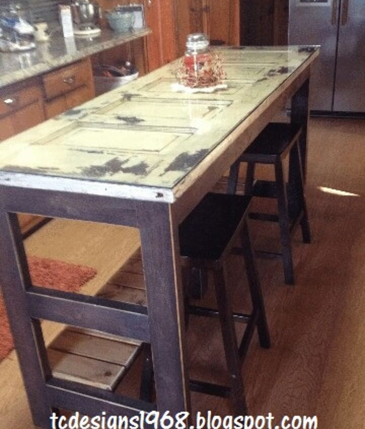 """Kitchen Island with 1/4 Glass on top for easy cleaning...and 24"""" Bar stools purchased at Walmart..."""