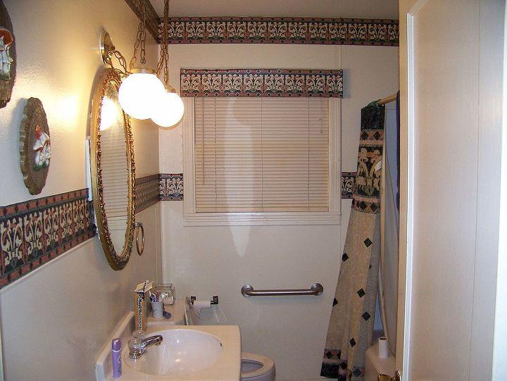 Original Bath with pedistal sink and borders.....Just didn't feel good....
