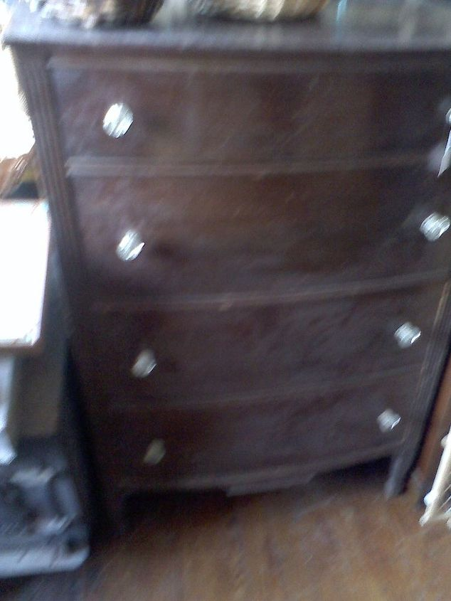 the wonders of stain, painted furniture, Terrible cell phone picture via my mom