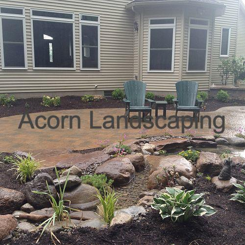 Landscape Design Greece NY, Landscaping, Waterfall Garden Pond and stream, Aquascape Waterfall Ecosystem Fish Pond, Low Maintenance Garden, LED Lighting,  in Greece NY by Acorn Landscaping, Certified Aquascape Contractor, Rochester NY