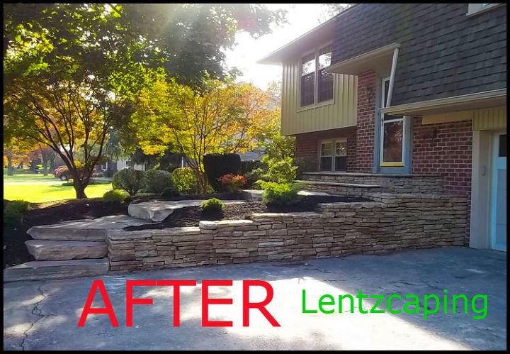 AFTER For detailed description of this natural stone project:  https://www.facebook.com/pages/Lentzcaping-Inc/196310044116?ref=hl#!/notes/lentzcaping-inc/hardscaping-transformation-front-entrance-to-home-redesigned-natural-blue-stone-