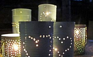 diy tin can lanterns, crafts, outdoor living, repurposing upcycling